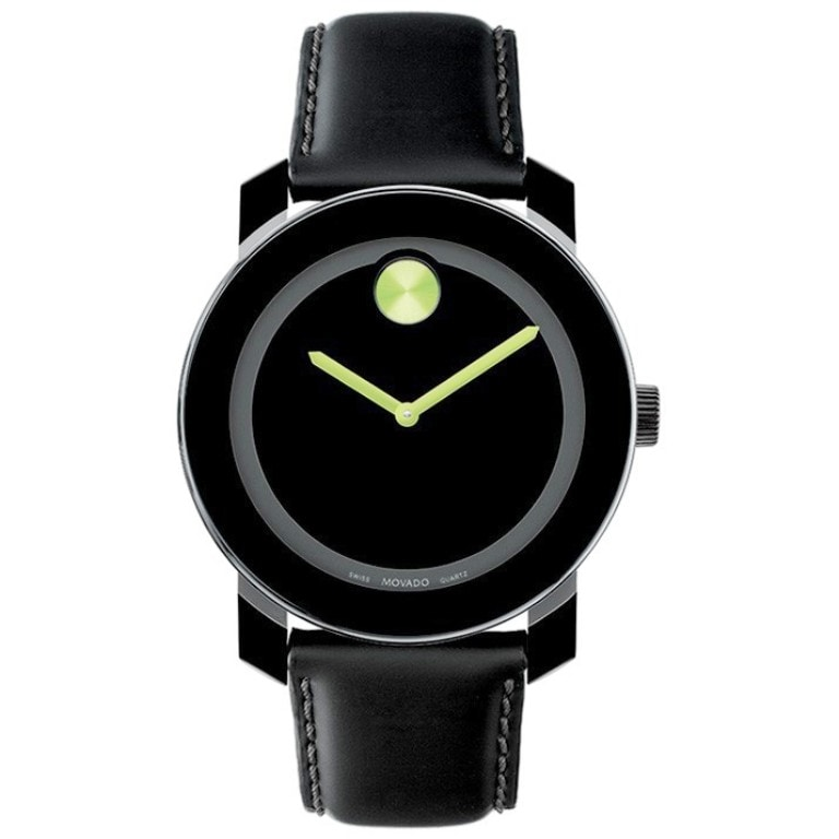 Movado Men's Green Accent Black Leather Watch