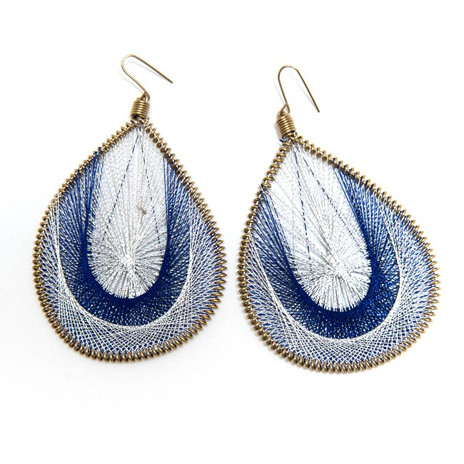 Goldtone White and Blue Thread Earrings (India)