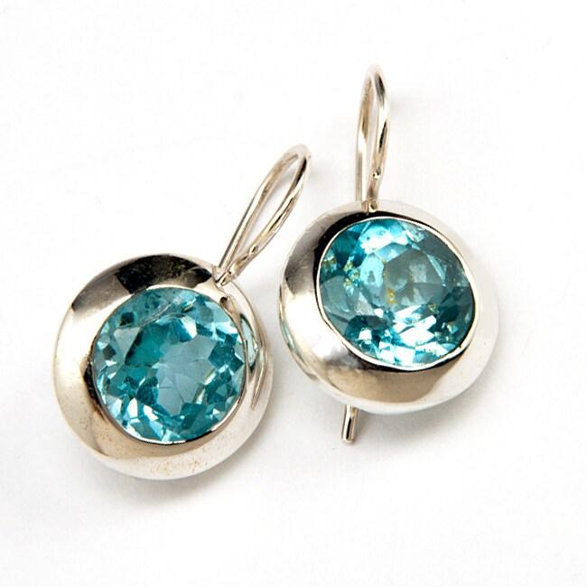 Sterling Silver Blue Topaz Earrings (India)