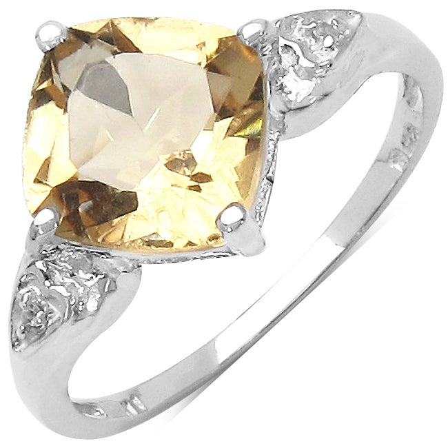 Malaika Sterling Silver Citrine and White Topaz Ring (2 1/10ct TGW)