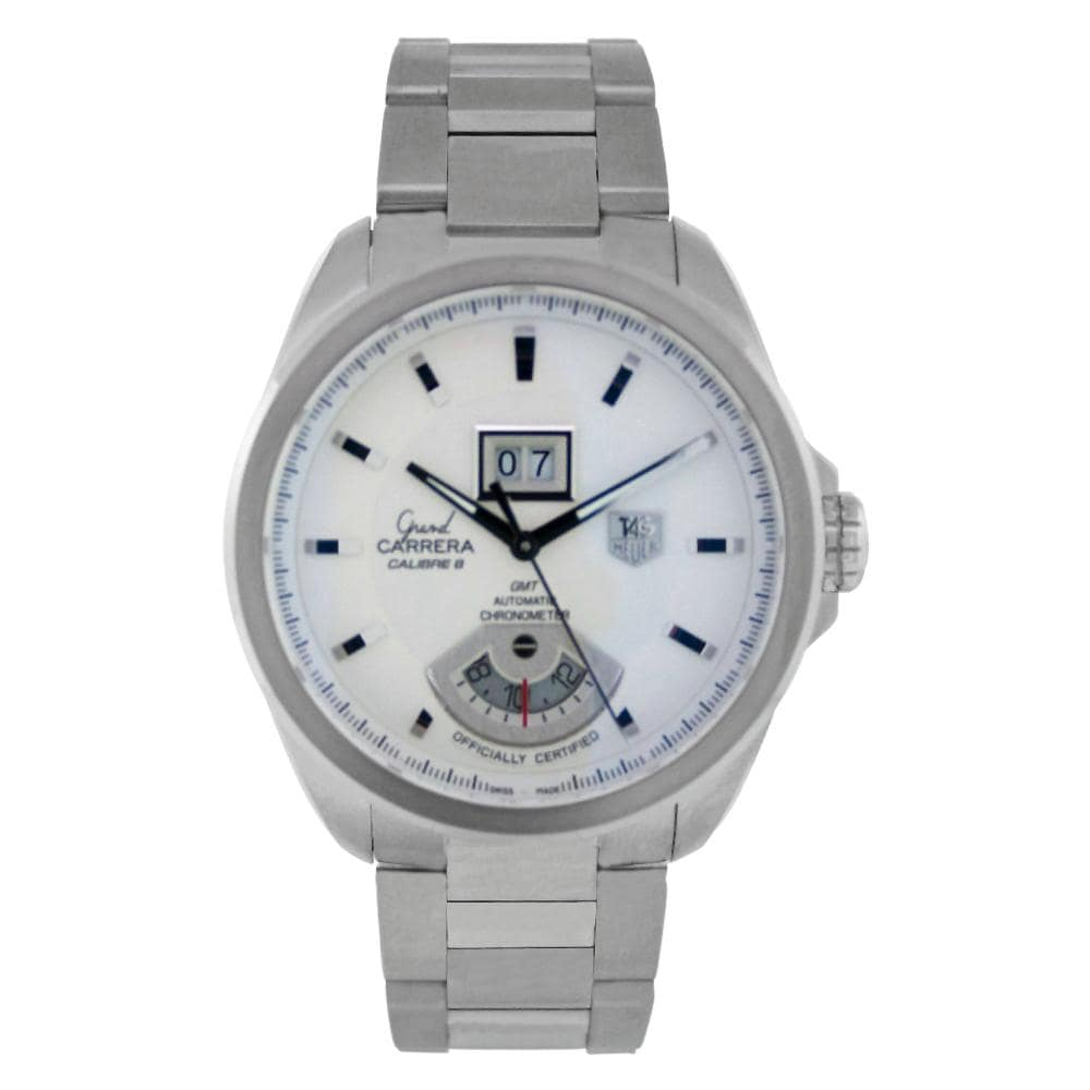 2218e24f2ba Shop Tag Heuer Men's WAV5112.BA0901 'Grand Carrera' GMT Automatic Stainless  Steel Watch - Free Shipping Today - Overstock - 6281235