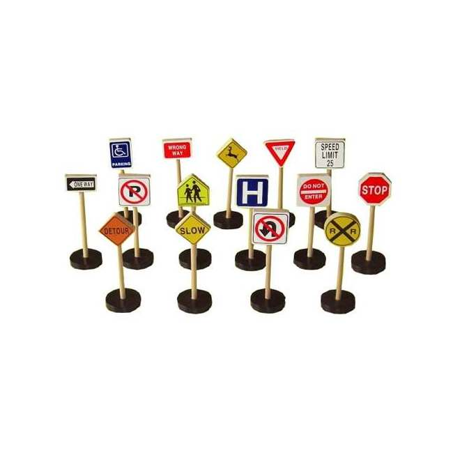 Play Smart 15-count Nontoxic Wood Set of Street Traffic Signs