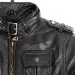 United Face Boy's Lambskin Leather Biker Jacket - Thumbnail 2