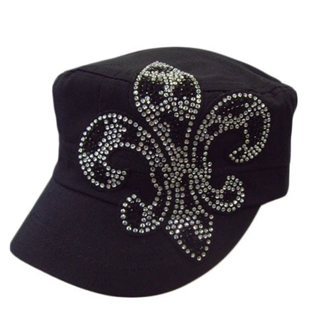 Downtown Women's Rhinestone Fleur De Lis Military Cap
