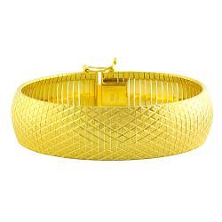 Fremada Gold over Silver 18-mm Satin/ Diamond-cut Cubetto Bracelet