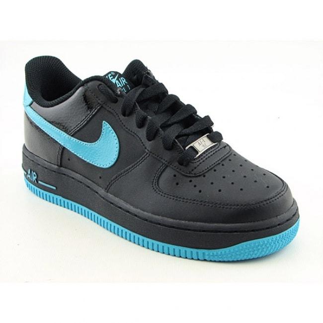 6c63e4ab1c8d79 Shop Nike Boys  Air Force 1  Black  Chlorine Blue Basketball Shoes ...