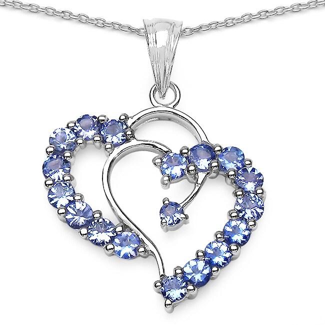 Malaika Sterling Silver Tanzanite Heart Necklace (1 4/5ct TGW)