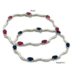 Sterling Silver Sapphire, Ruby and Diamond Accent Bracelet