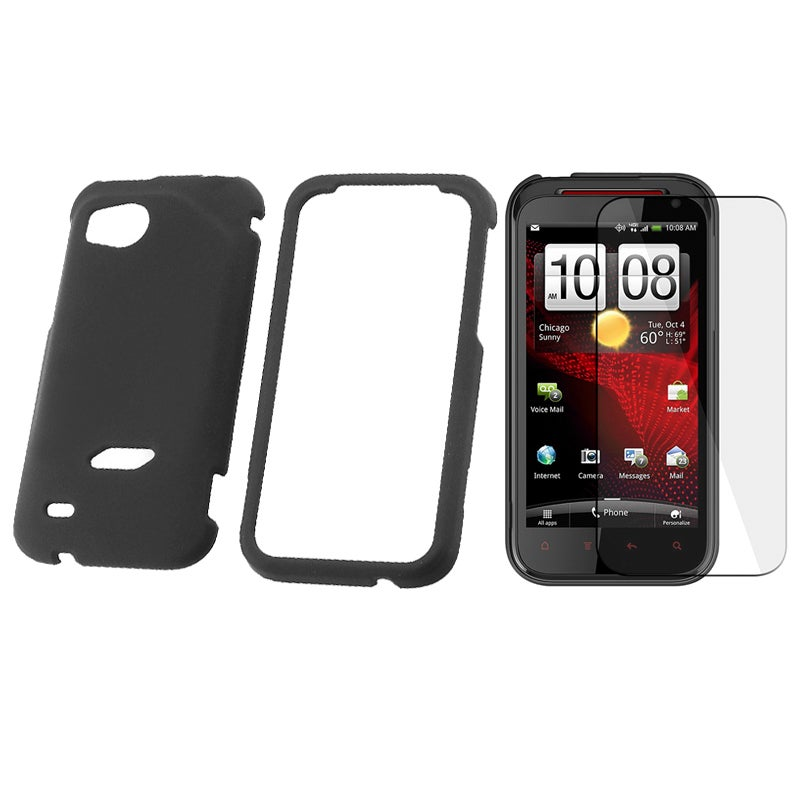 Black Rubber Case/ LCD Screen Protector for HTC Vigor/ Rezound