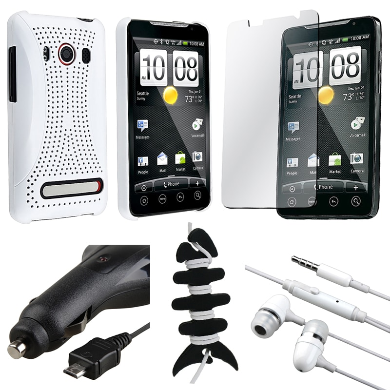 White Case Protector/ Headset/ Car Charger/ Wrap for HTC Evo 4G