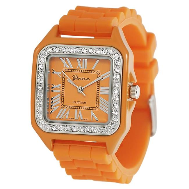 Geneva Platinum Women's Square-shaped Rhinestone Silicone Watch