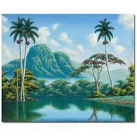 Douglas 'Claridad' Canvas Art - Blue/Green