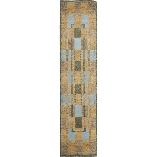 Safavieh Hand-knotted Selaro Grids Brown/ Blue Wool Rug (2'3 x 9'6)
