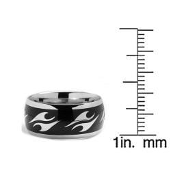 Oliveti Stainless Steel Men's Resin Flame Ring - Thumbnail 2
