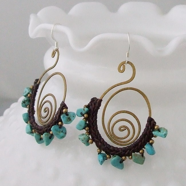 Mystic Swirl Blue Turquoise Dangle Sterling Silver Earrings (Thailand)