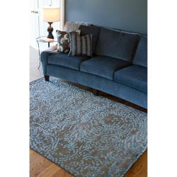 Hand-knotted Elkton Abstract Design Wool Rug (9' x 13') - Thumbnail 1