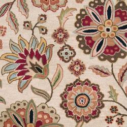 Hand-tufted Milbank Beige Floral Wool Rug (10' x 14')
