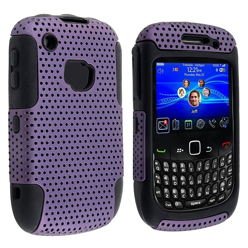 Black Skin/Purple Meshed Hybrid Case for BlackBerry Curve 8520/ 9300