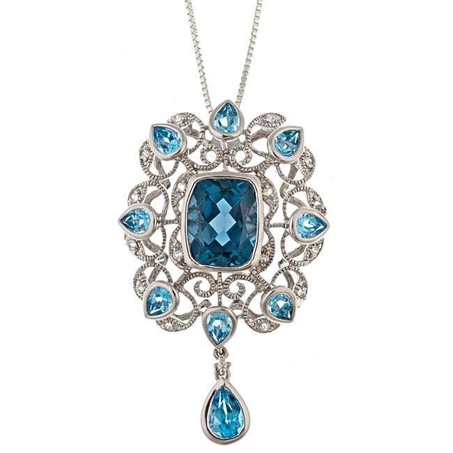 D'Yach Sterling Silver London Blue Topaz and White Zircon Necklace