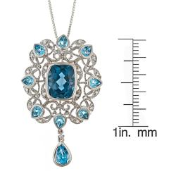 D'Yach Sterling Silver London Blue Topaz and White Zircon Necklace - Thumbnail 2