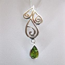 Sterling Silver Teardrop Peridot Necklace (Thailand) - Thumbnail 1