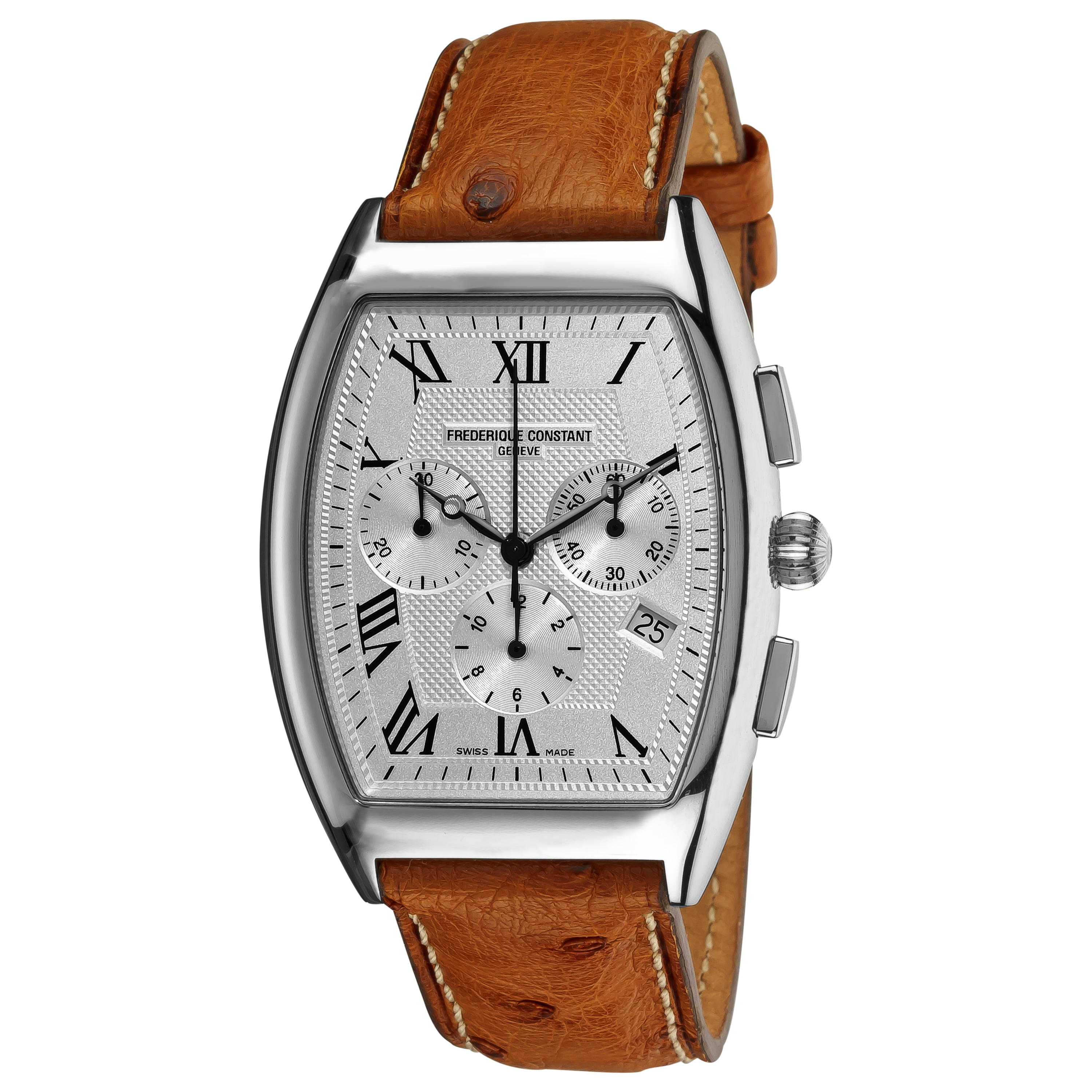 Frederique Constant Men's 'Art Deco' Brown Leather Strap Watch