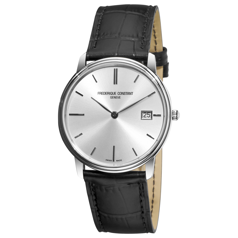 Frederique Constant Men's 'Slim Line' Black Leather Strap Watch