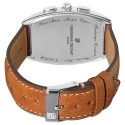 Frederique Constant Men's 'Art Deco' Brown Leather Strap Watch - Thumbnail 1