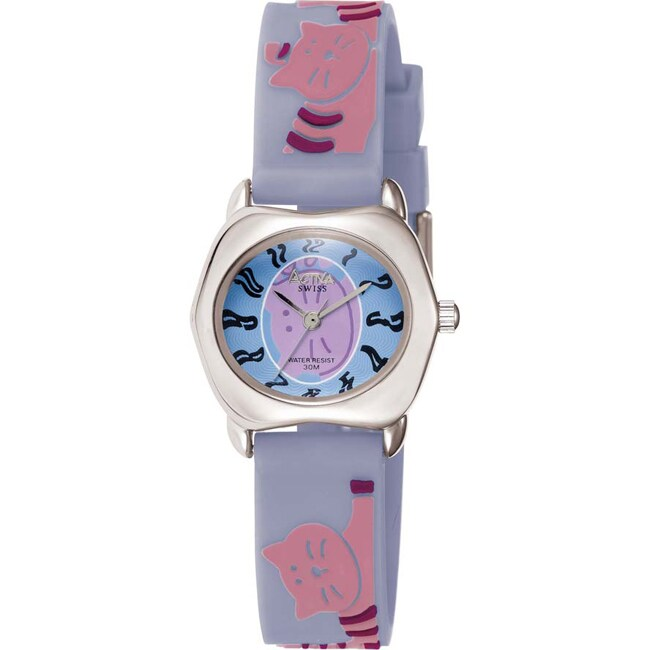 Activa Juniors Light Blue Rubber With Lilac Cat Design Watch