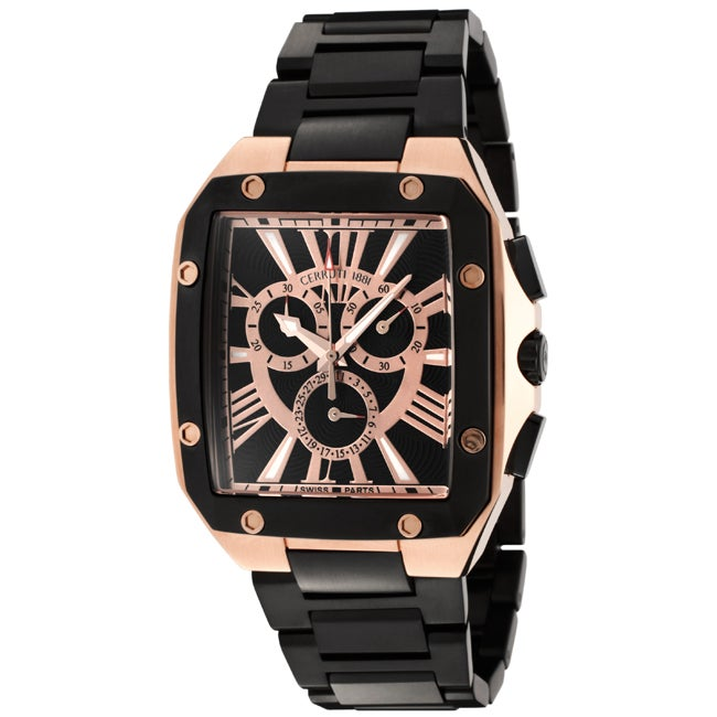 Cerruti I88I Men's 'Pianosa' Black Ion-Plated Stainless Steel Watch