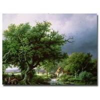Bernard Cornelis Koekkoek 'Landscape with Mill' Canvas Art