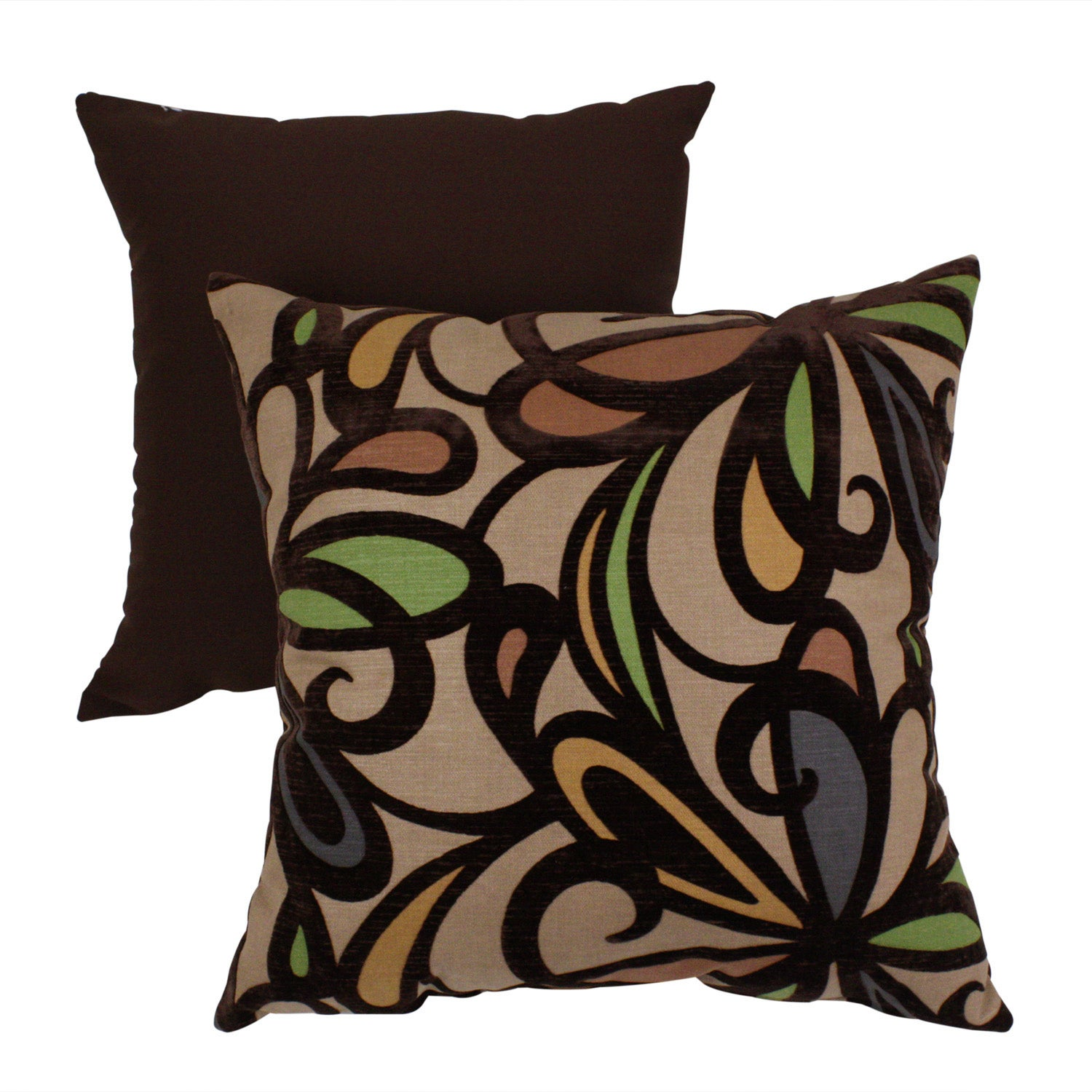 Pillow Perfect Contemporary Floral Flocked Throw Pillow