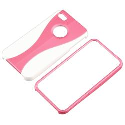 Pink/ White Cup Shape Snap-on Case for Apple iPhone 4/ 4S - Thumbnail 2