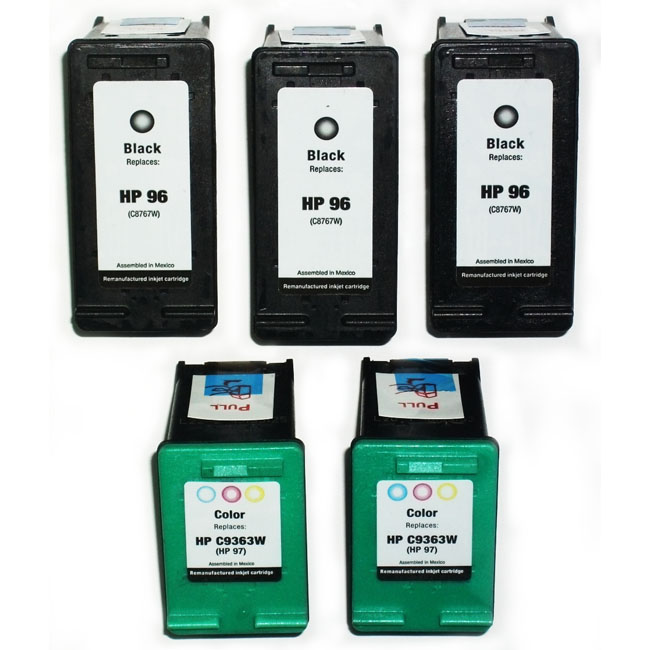 HP 96/97 Black/Tri-Color Ink Cartridges (Remanufactured) (Pack of 5) - Thumbnail 0