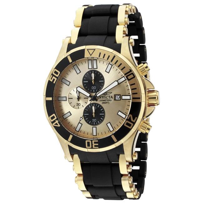 Invicta Men's 'Sea Spider' 18K Goldplated& Black Polyurethane Watch