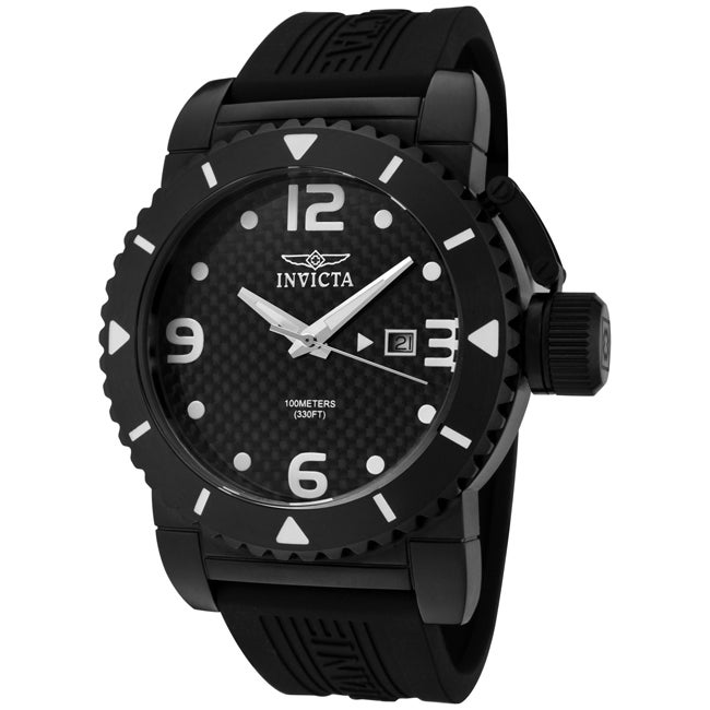 Invicta Men's 'Invicta II' Black Polyurethane Watch