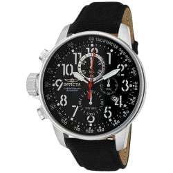 Invicta Men's 'Force' Black Leather Watch