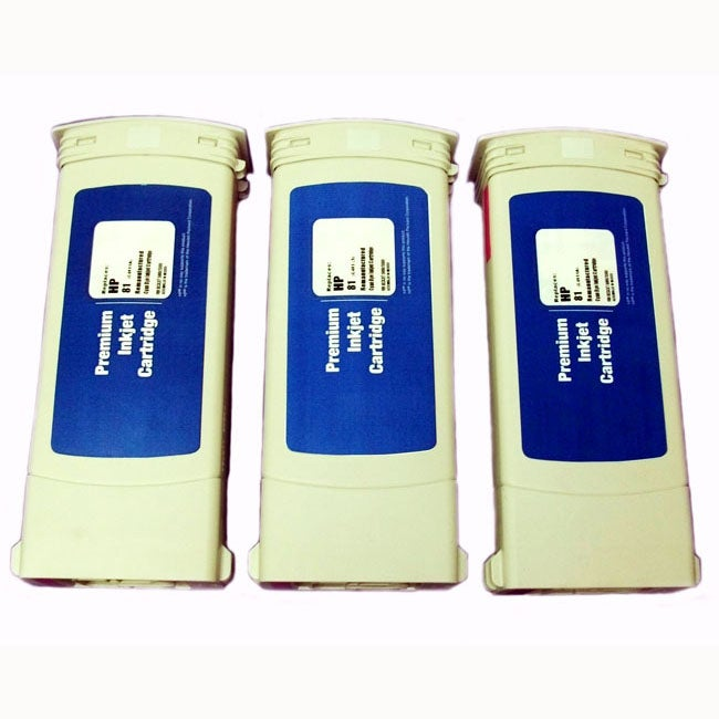 HP 81 Cyan Ink Cartridges (Pack of 3) (Remanufactured)