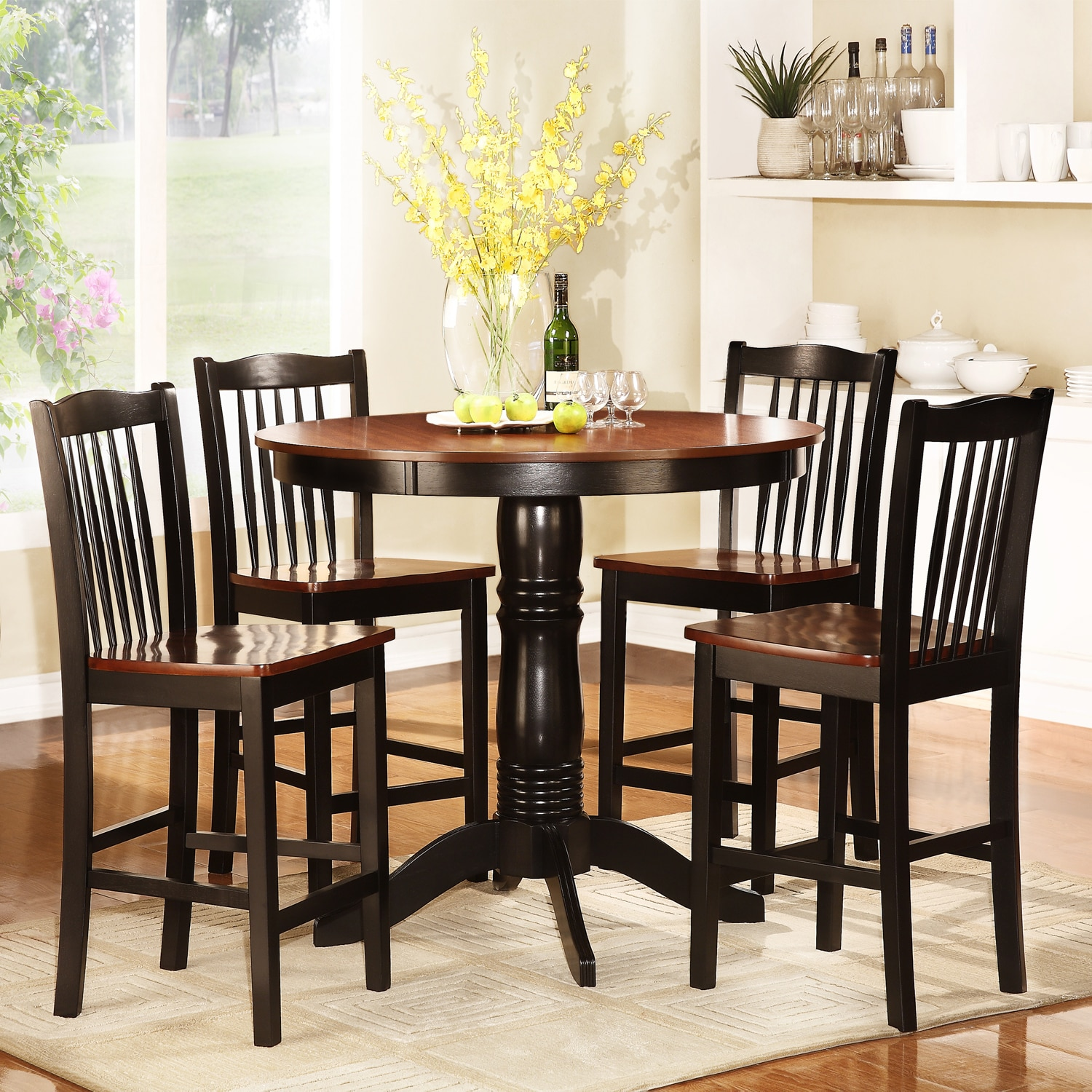 monroe antique oak and black 5 piece dining set free shipping today