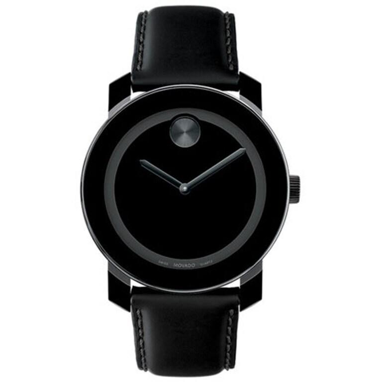 Movado Men's 'Large Bold' Black/ Black Watch