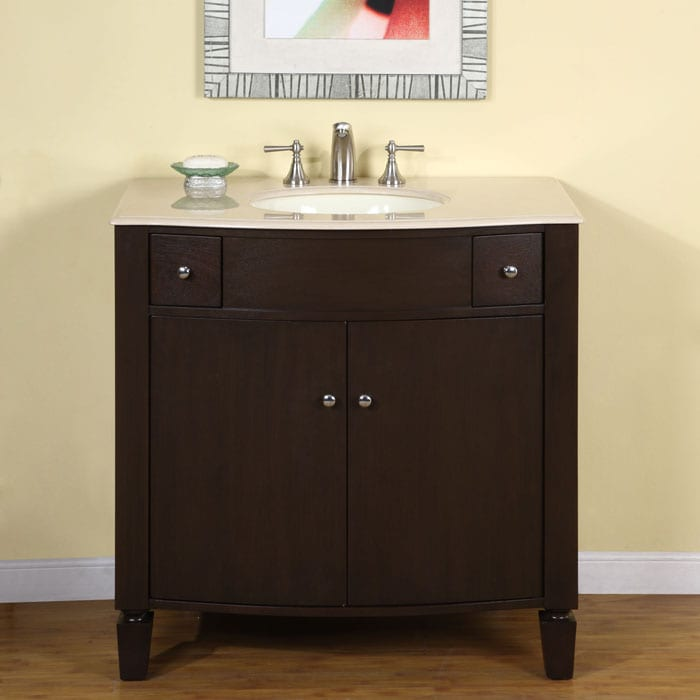Silkroad Exclusive Natural Stone Countertop Bathroom Single Sink Cabinet Vanity(36-inch ) - Thumbnail 0