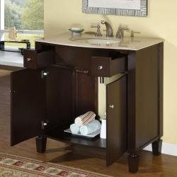 Silkroad Exclusive Natural Stone Countertop Bathroom Single Sink Cabinet Vanity(36-inch ) - Thumbnail 1