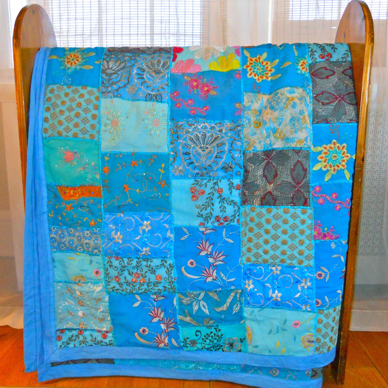 Fair Trade Vintage Turquoise Sari Patch Throw (India)