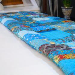 Fair Trade Vintage Turquoise Sari Patch Throw (India) - Thumbnail 2