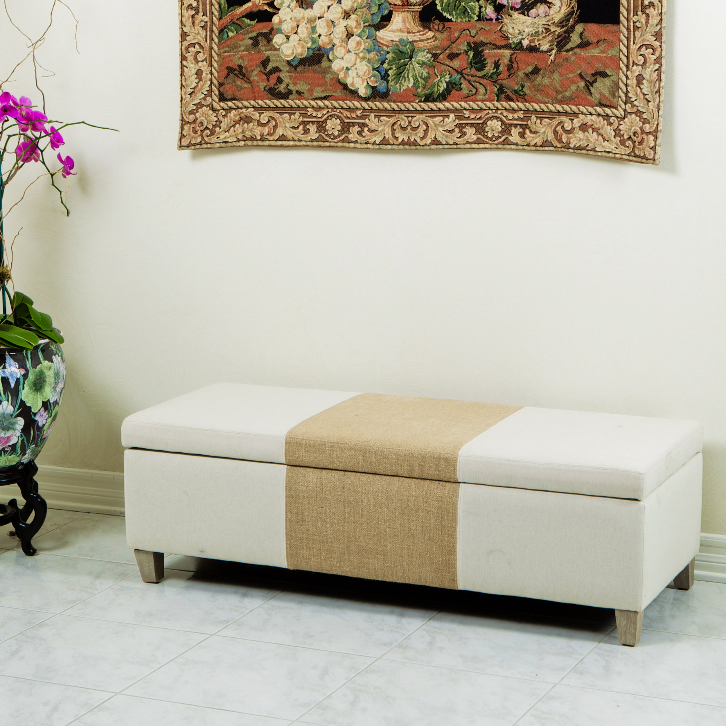 Two-tone Fabric Storage Ottoman by Christopher Knight Home