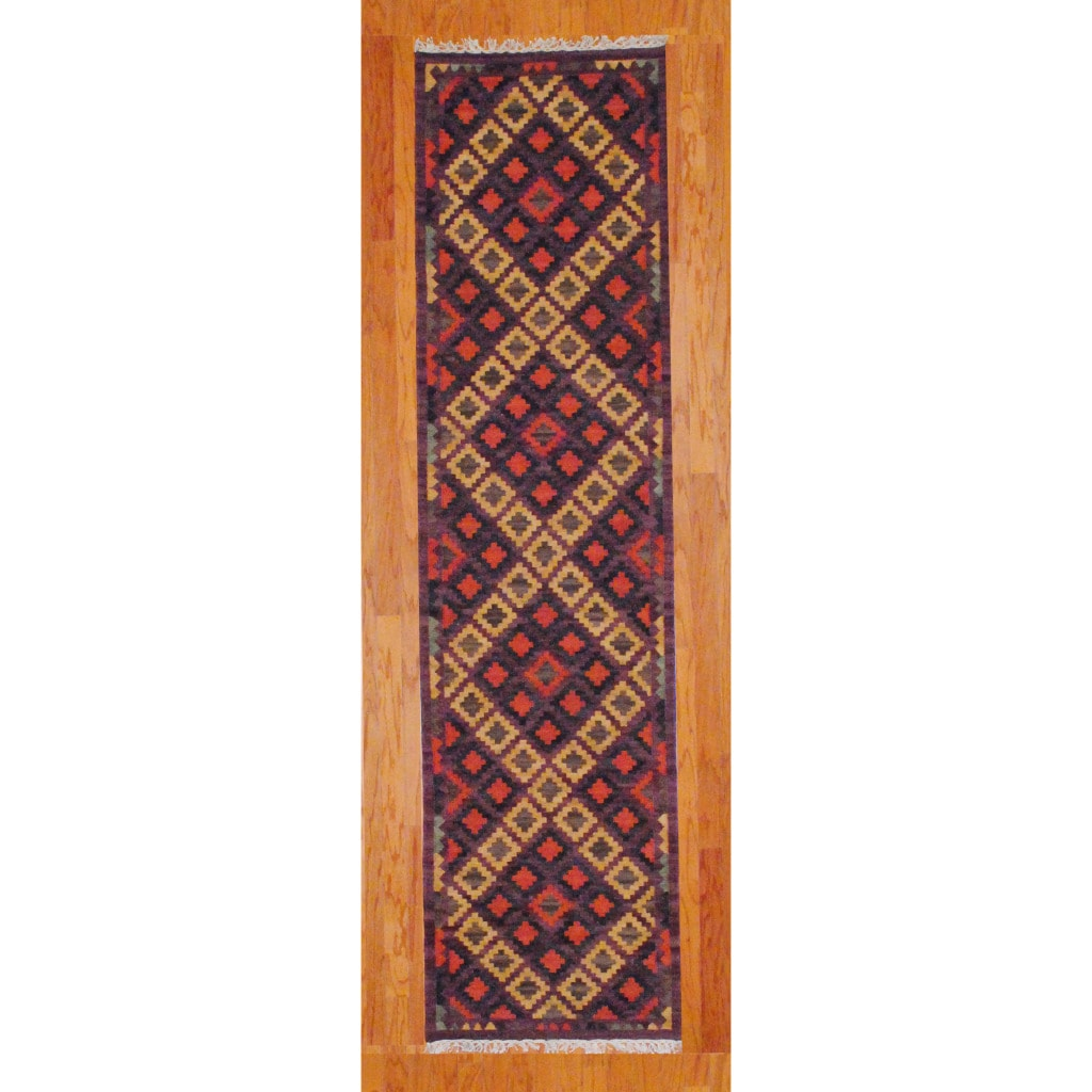 Indo Hand-knotted Kilim Beige and Purple Wool Rug (2'6 x 10)