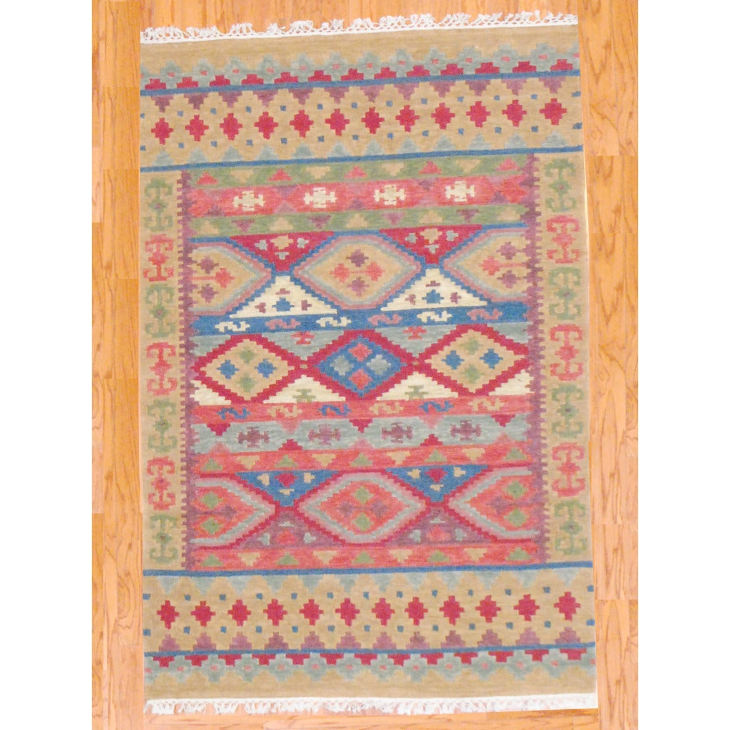 Indo Hand-knotted Kilim Blue and Red Wool Rug (4 x 6) - Thumbnail 0