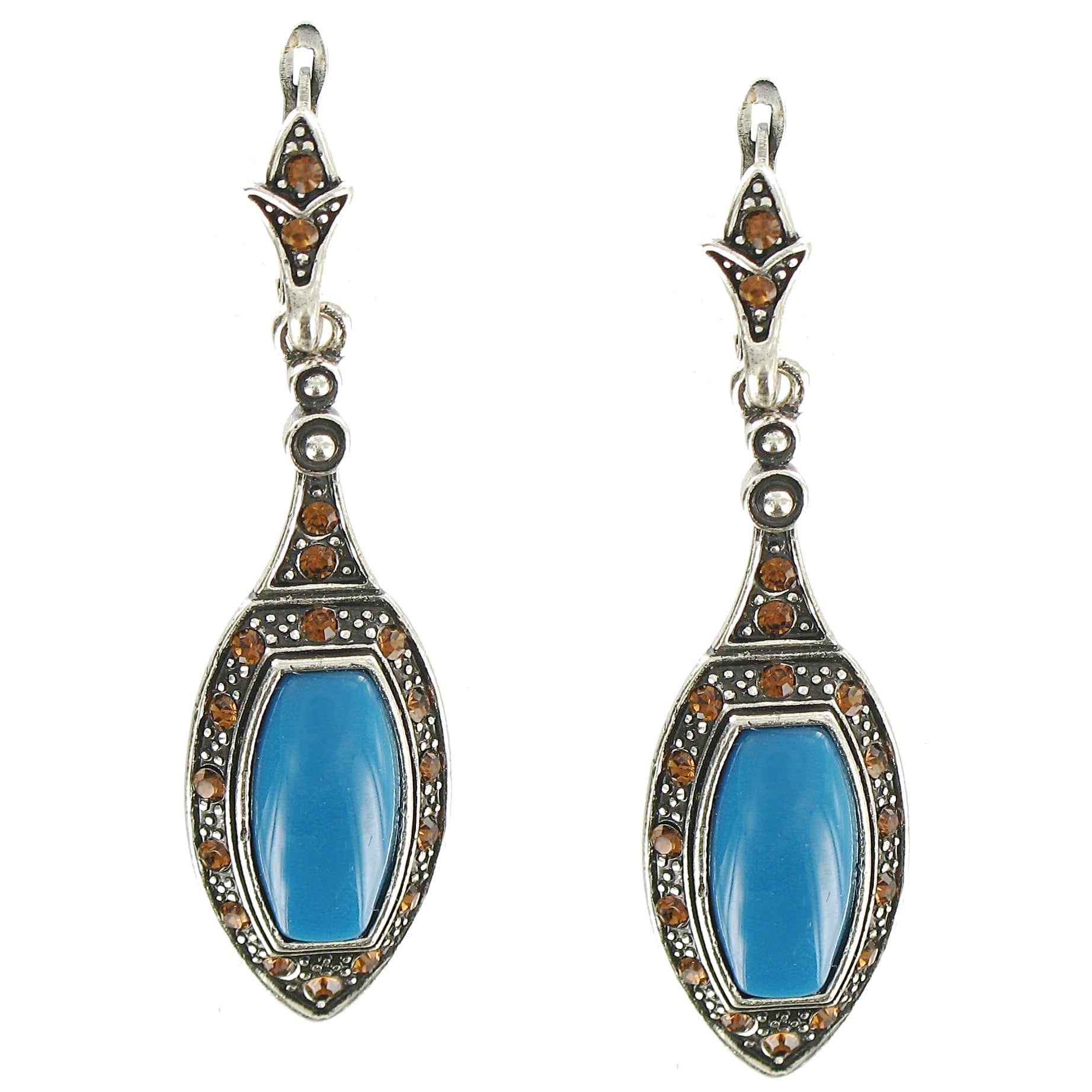 Cano Antiqued Silver-plating Blue Resin Stone Earrings