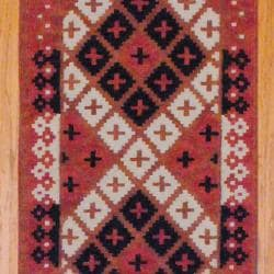 Indo Hand-knotted Kilim Rust/ Black Wool Rug (2'6 x 10) - Thumbnail 1