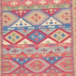 Indo Hand-knotted Kilim Blue and Red Wool Rug (4 x 6) - Thumbnail 1